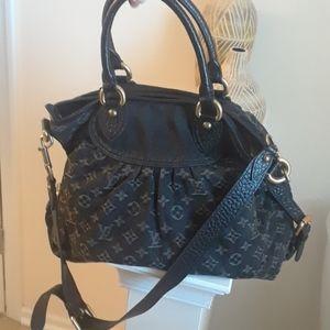 Authentic Louis Vuitton Black Neo Cabby Denim Bag